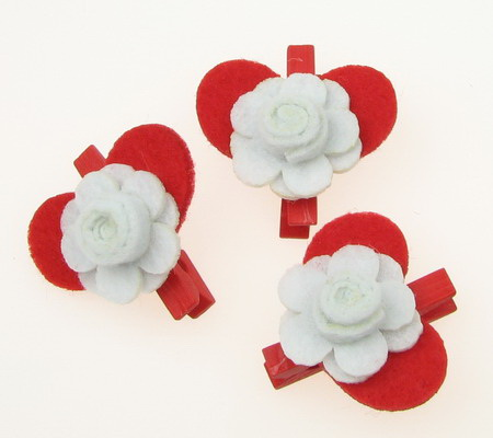 Wooden Clothespins for Decoration  felt heart and rose -3 pieces