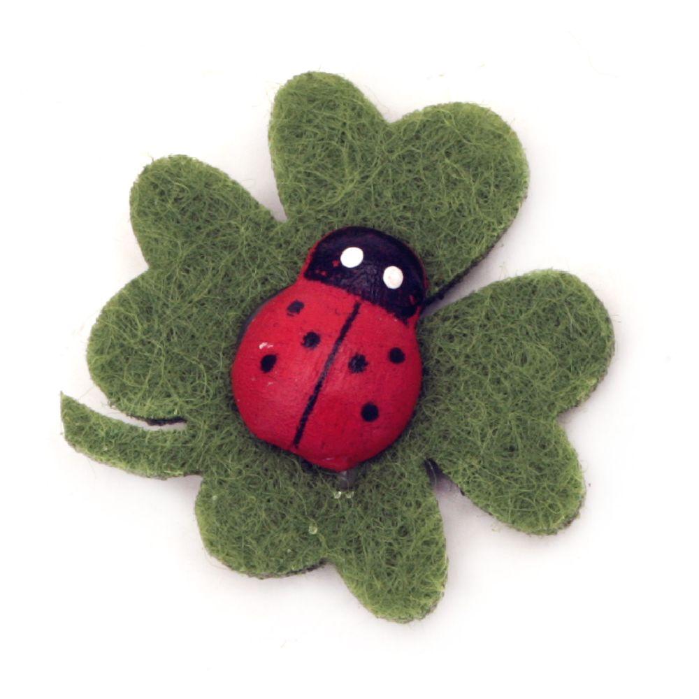 Clover soft ladybug with glue  DIY Scrapbooking 24 mm -30 pieces