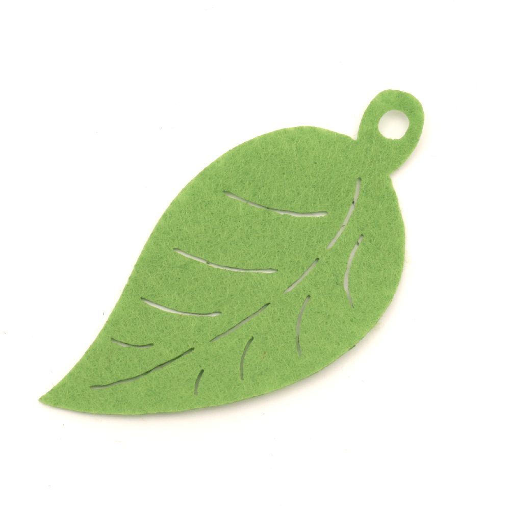 Pendant leaf Felt Embellishment DIY Scrapbooking 80x39x1 mm hole 5 mm -10 pieces