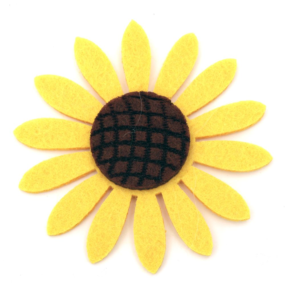 Felt Sunflower Embellishment, 77x6mm 5pcs