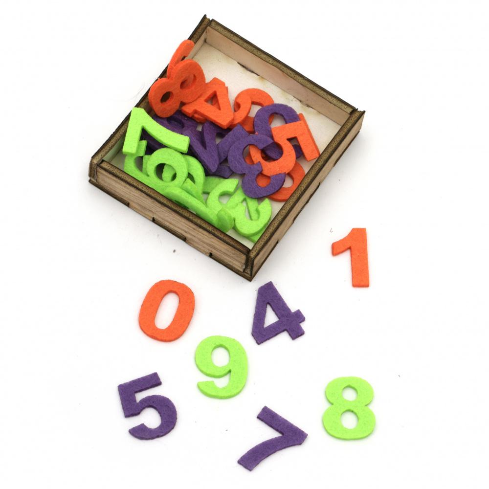 Цифри от филц 25x2 мм от 0 до 9 в кутия - 30 броя