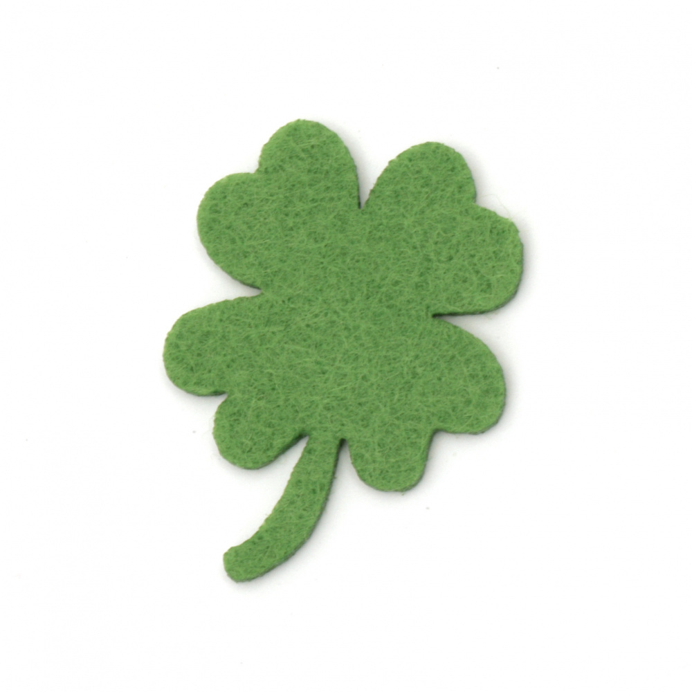 Clover with a handle of felt  for embellishment of festive cards, frames, albums40x2 mm green -10 pieces