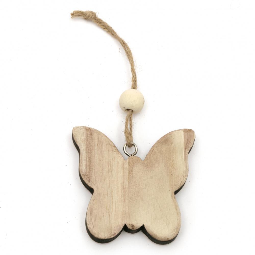 Декорация дърво 3D пеперуда 79x79x13 мм натурална -1 брой