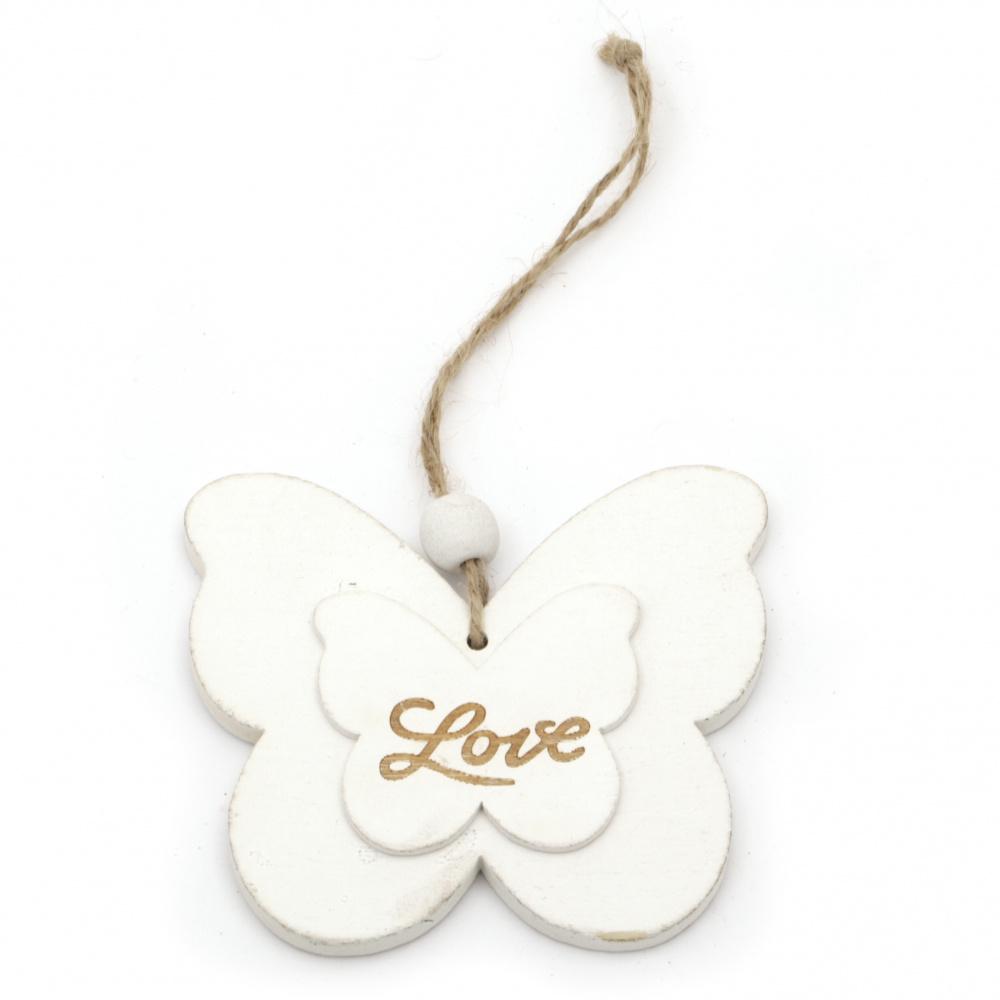 Висулка дърво пеперуда 100x88x7 мм с надпис LOVE бяла -1 брой