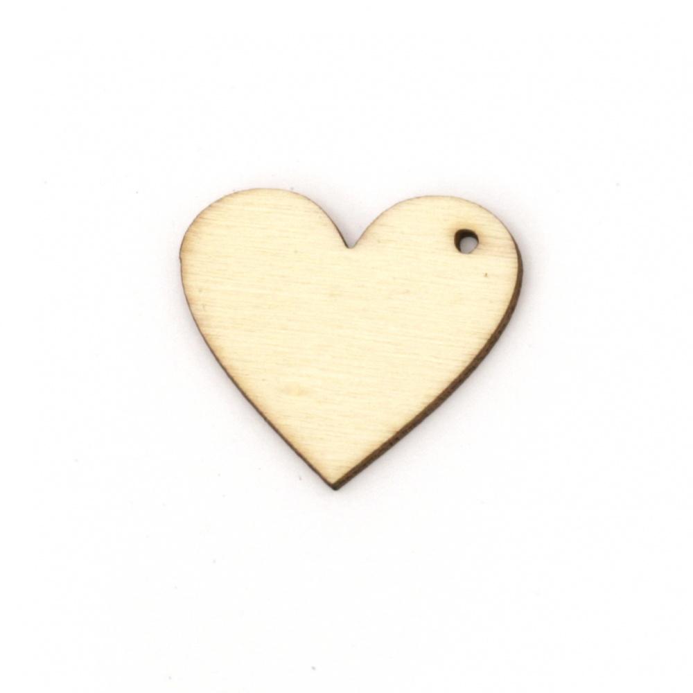 Figură din lemn pentru decorarea inima 20x25x2 mm gaură 0,5 mm -10 bucăți