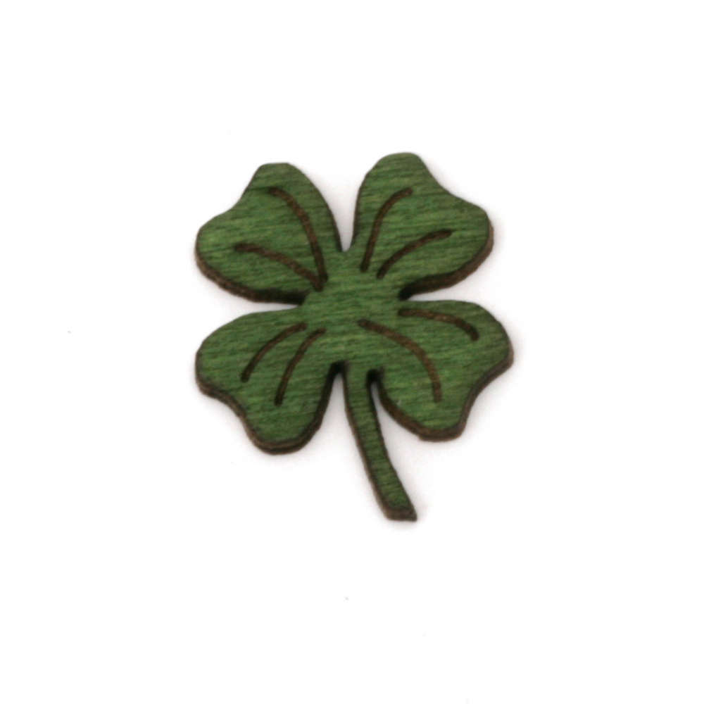 DIY Wooden embellishment clover 20x17x1.5 mm - 10 pieces
