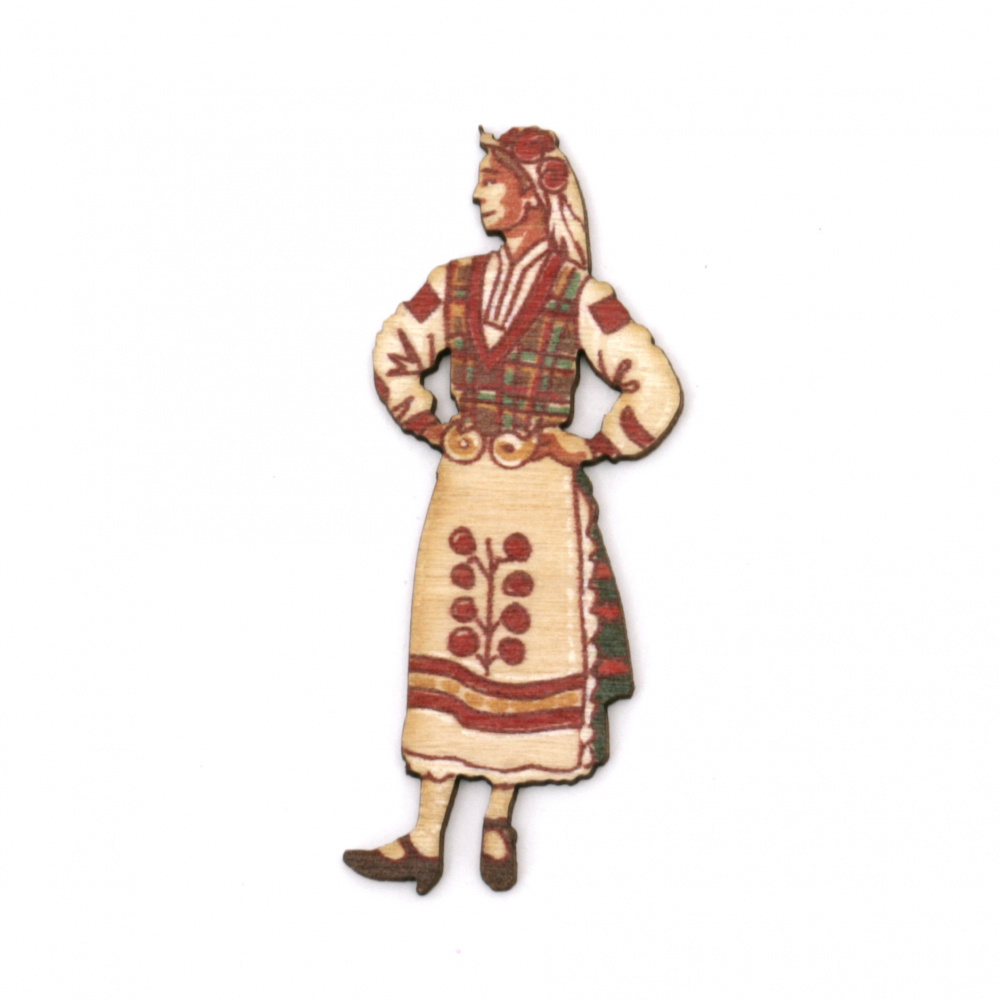 Wood Figurine for decoration Girl in folk costume 55x22x1.5 mm