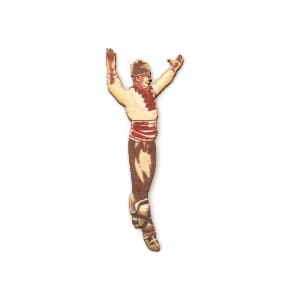 Figura din lemn pentru decorare băiat în costum popular 70x27x1,5 mm