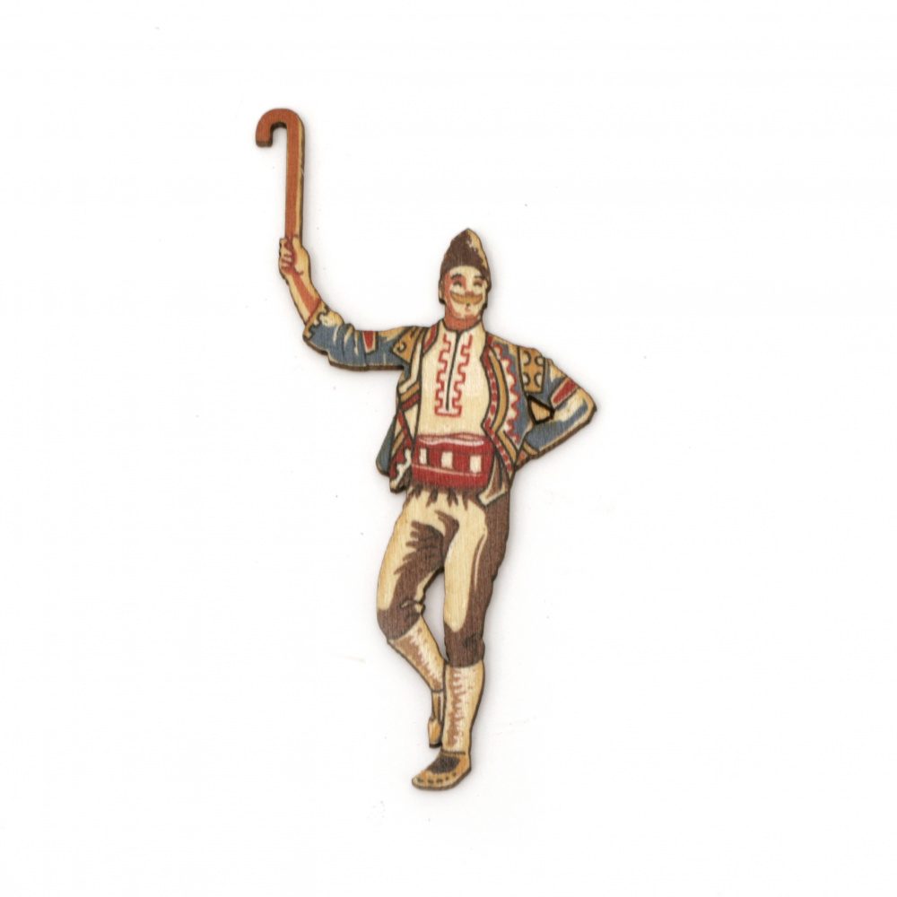 """Wooden figurine for decoration boy with short wooden stick """"gega"""" in folk costume 90x50x2 mm"""