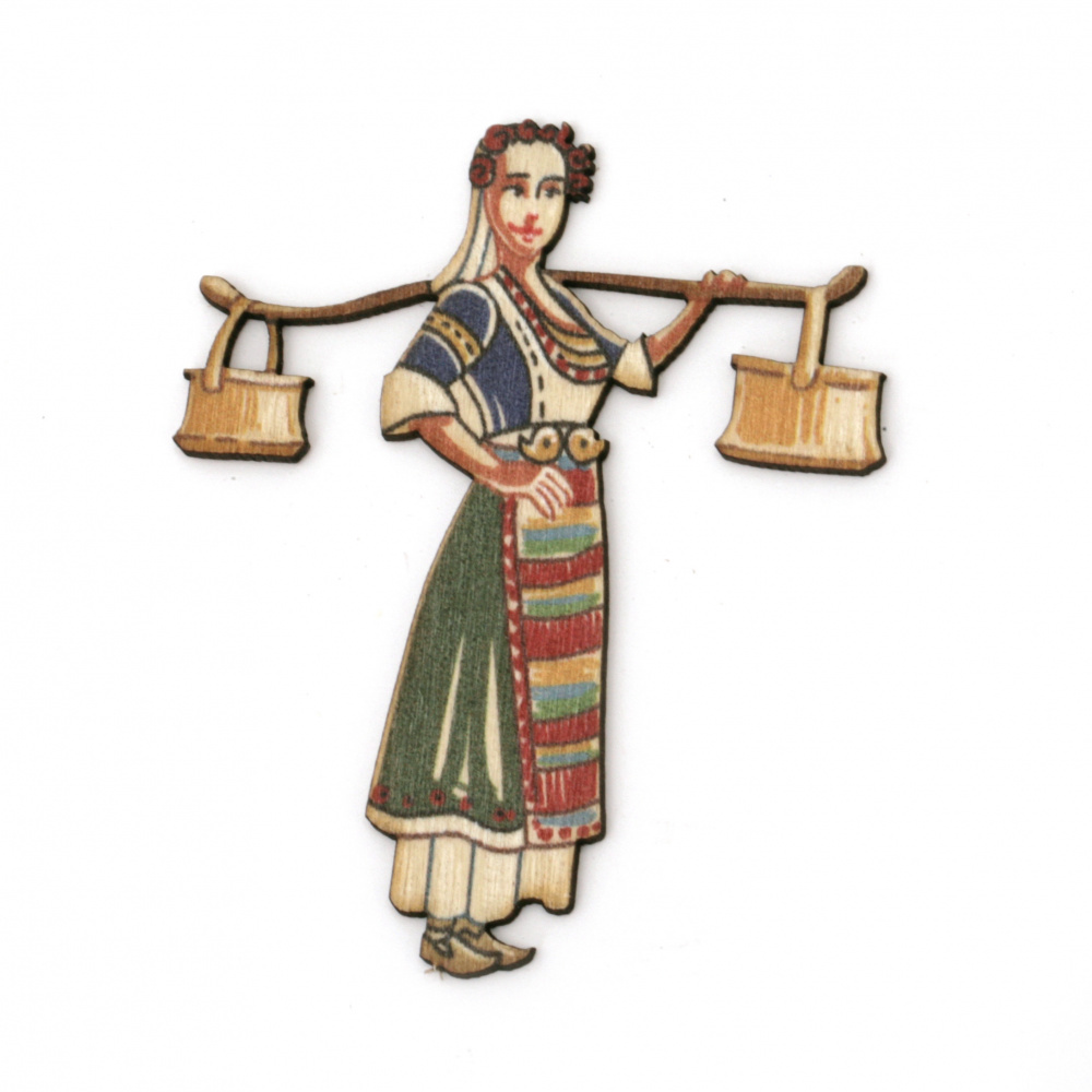 """Wooden figurine for decoration girl with water tanks """"menci"""" in folk costume 65x54x2 mm"""