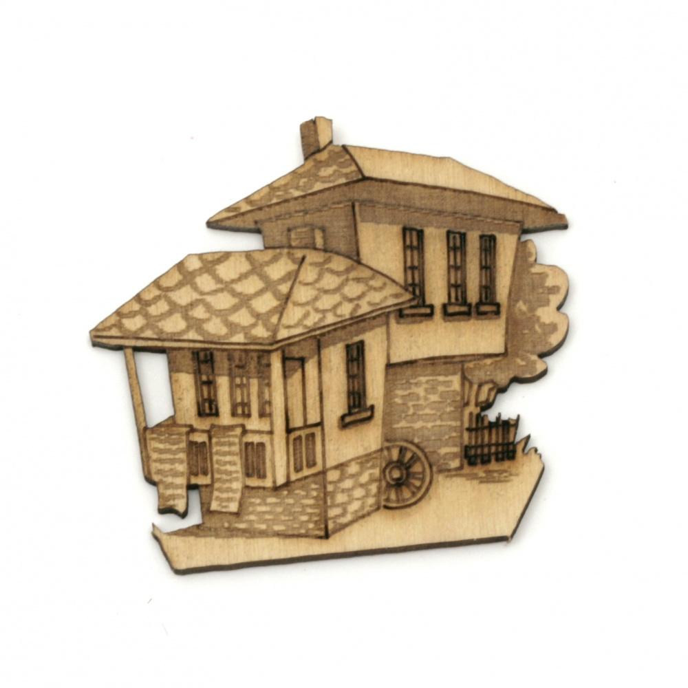 Παλαιά σπίτια, ξύλινο διακοσμητικό 44x47x2 mm