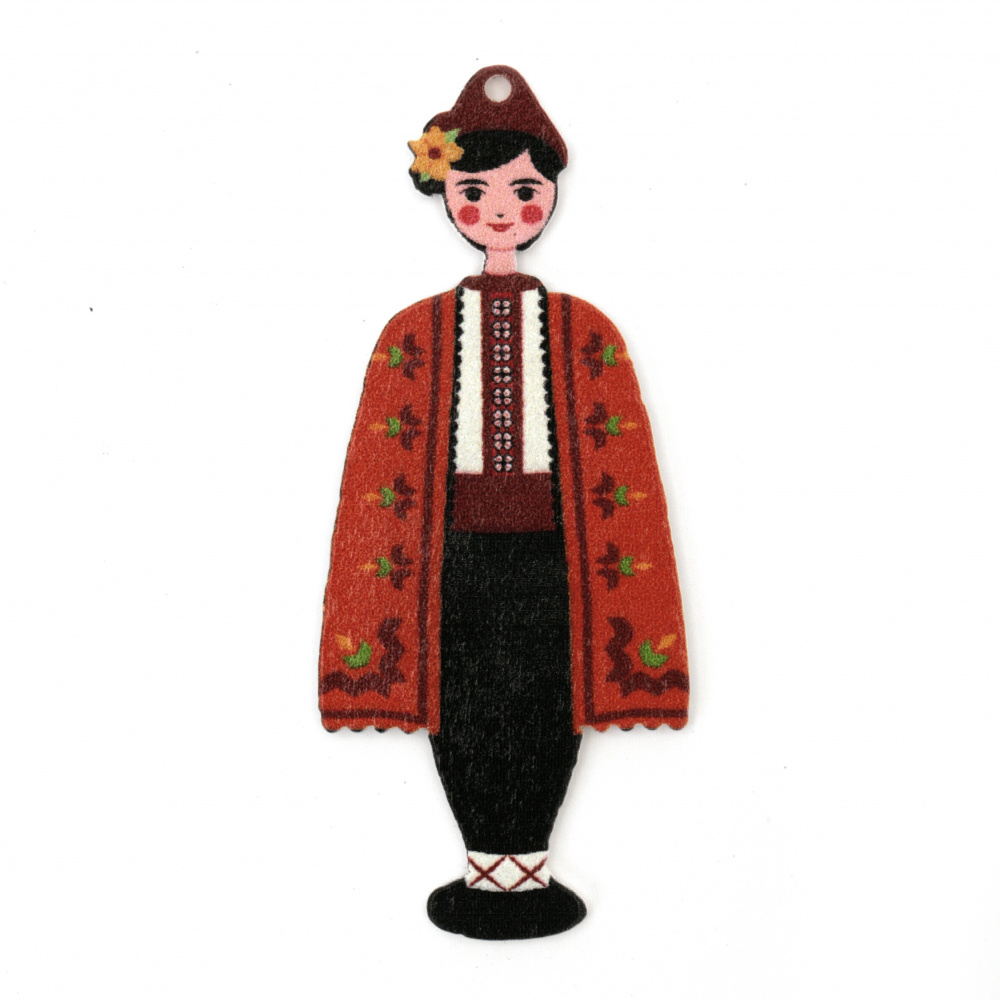 Дървена висулка момче с народна носия 70x30x2 мм дупка 2 мм -5 броя