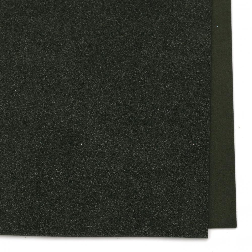 Material EVA / cauciuc microporos / 2 mm A4 20x30 cm cu brocart negru