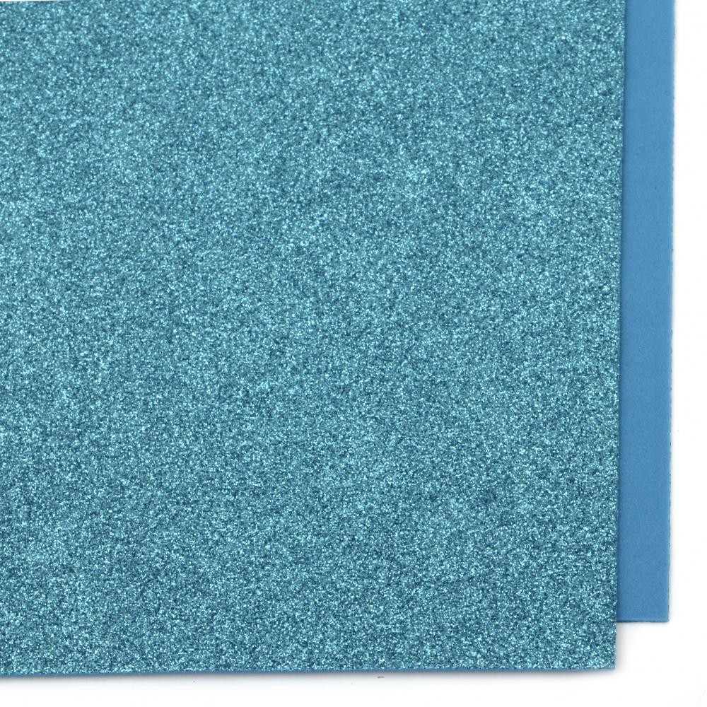 EVA материал /микропореста гума/ 2 мм А4 20x30 см с брокат син