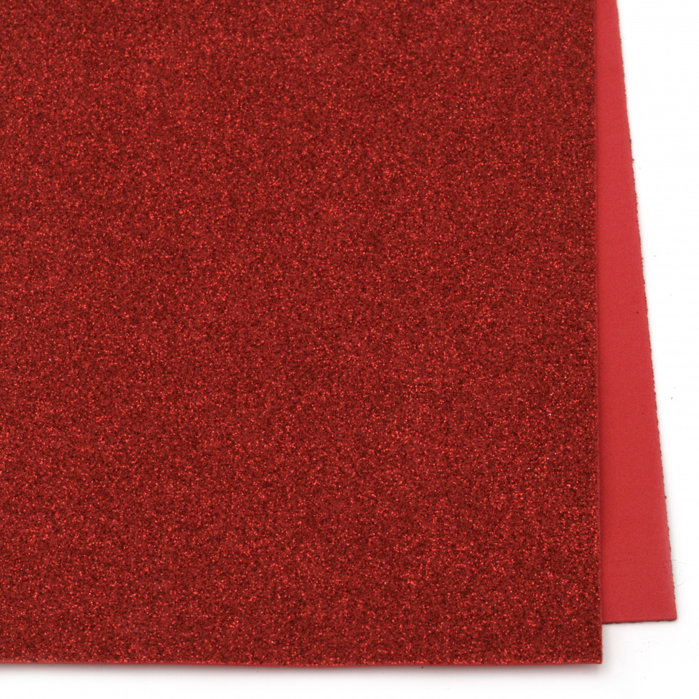 EVA foam A4 sheet 20x30 cm, red color with glitter for scrapbooking & craft decoration 2 mm