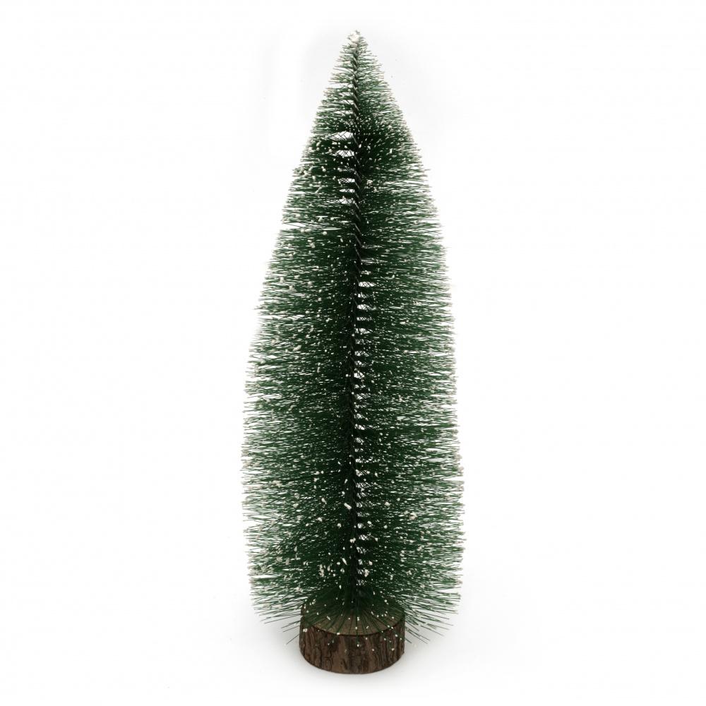 Декорация коледна елха 300x95 мм на стойка зелена
