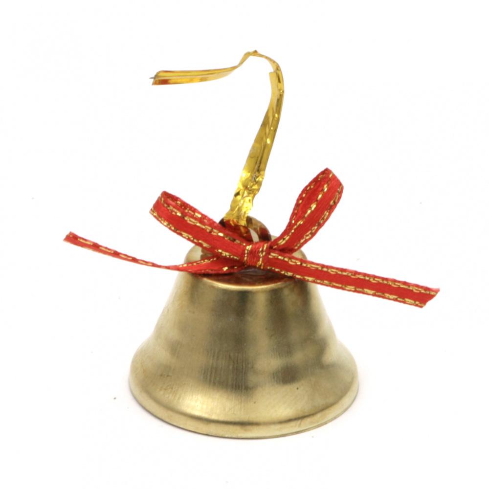Декорация коледна камбанка метал 32x32 мм цвят злато с панделка -12 броя