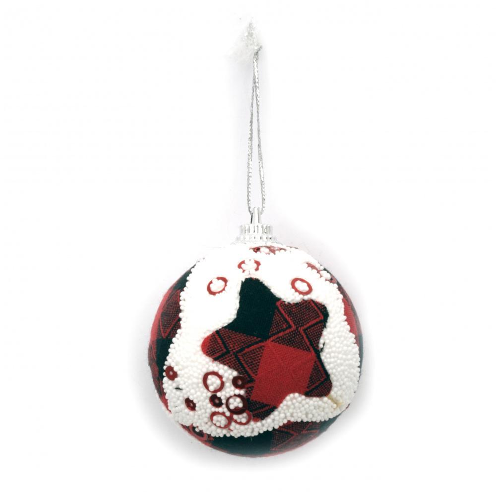 Коледна топка стиропор, текстил, пайети 56 мм звезда, ромб -6 броя