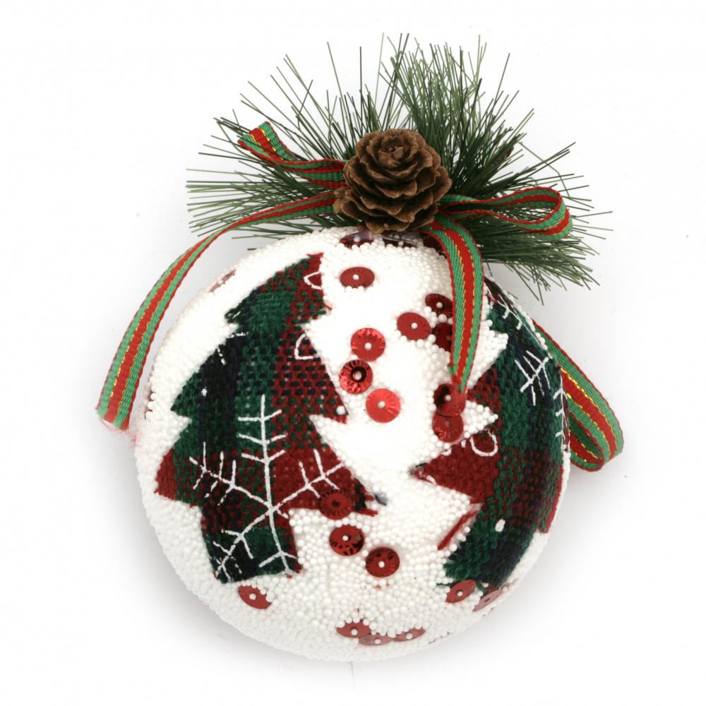 Коледна топка стиропор, клонче с шишарка 77 мм елхичка -3 броя
