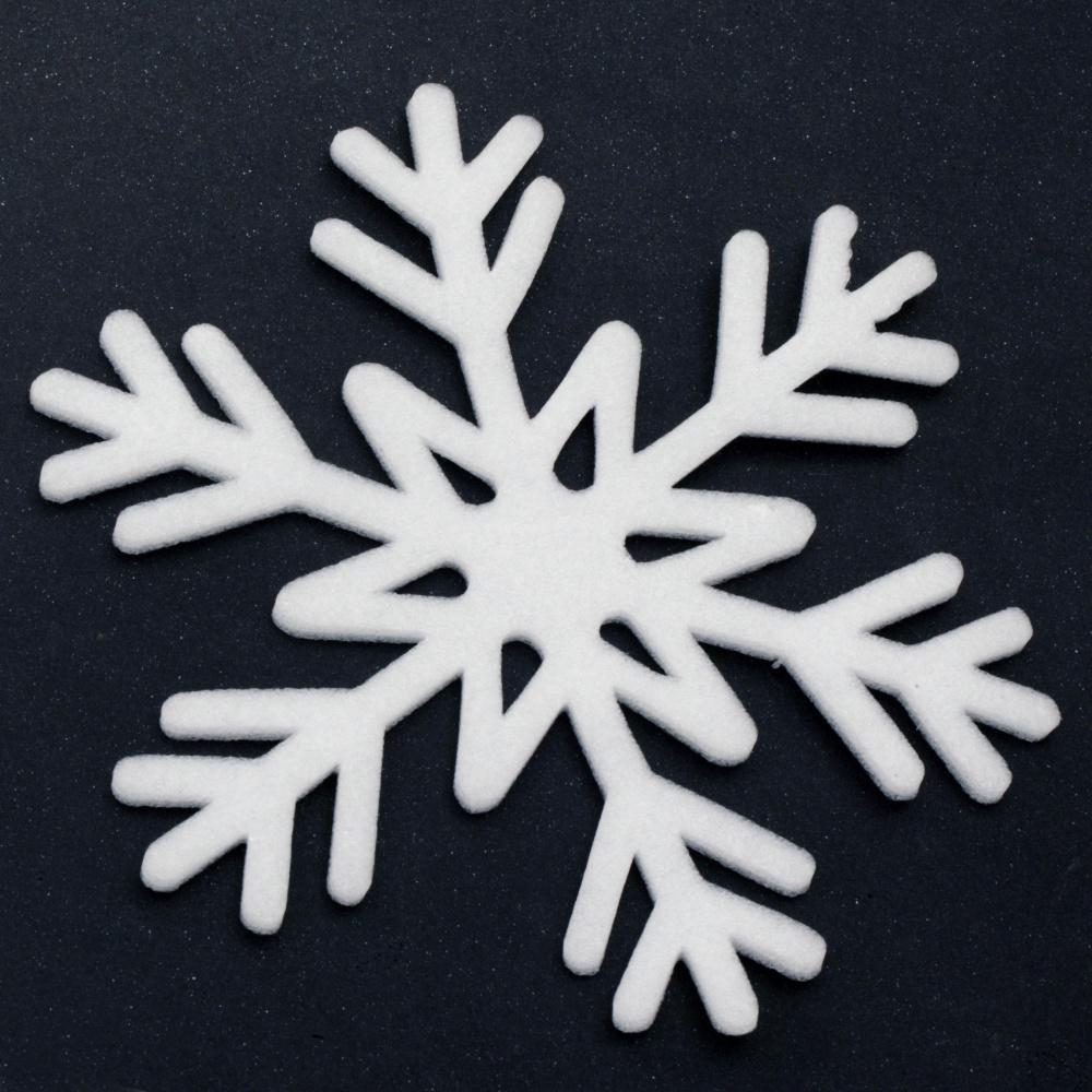 Декорация коледна снежинка 160x5 мм цвят бял -5 броя