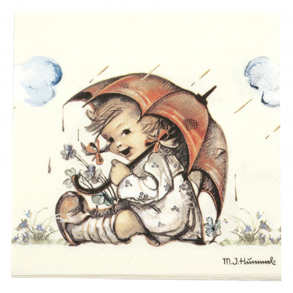 Салфетка за декупаж Ambiente 33x33 см трипластова Umbrella Girl -1 брой