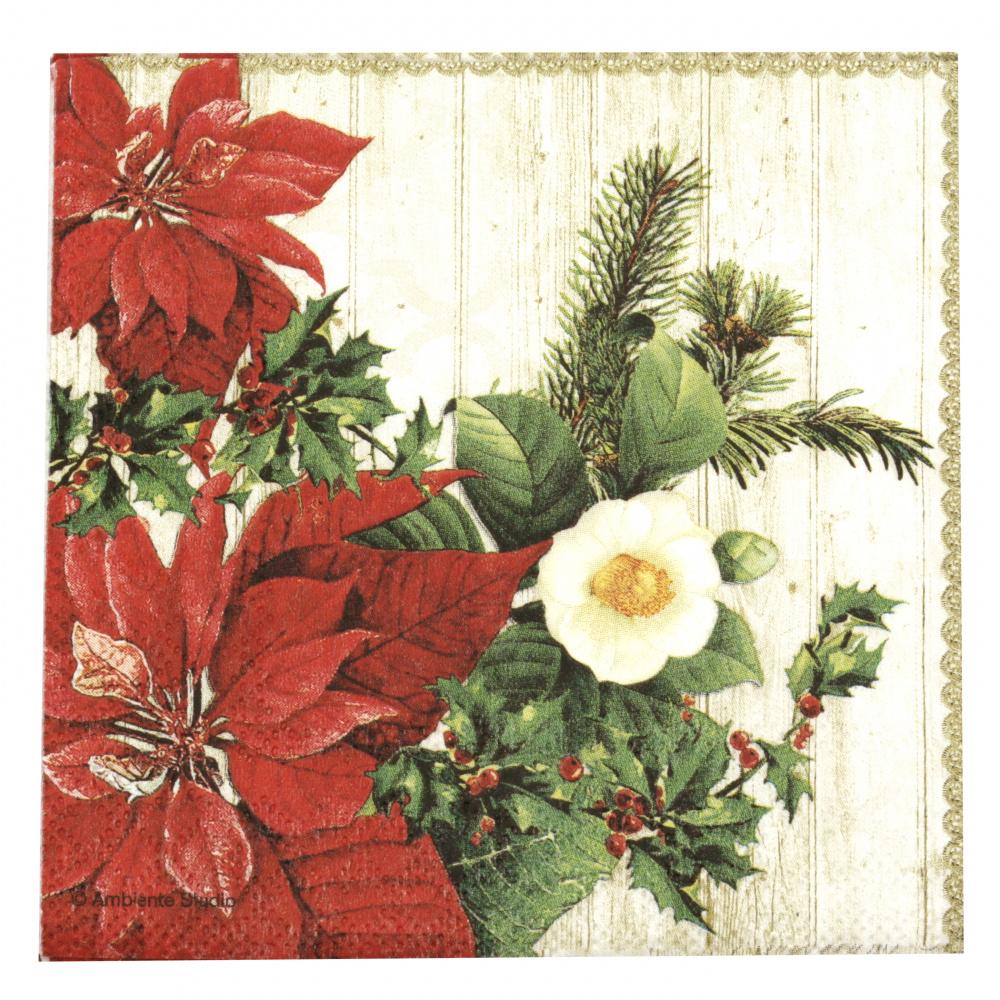 Салфетка за декупаж Ambiente 25x25 см трипластова Poinsettia on Wood -1 брой