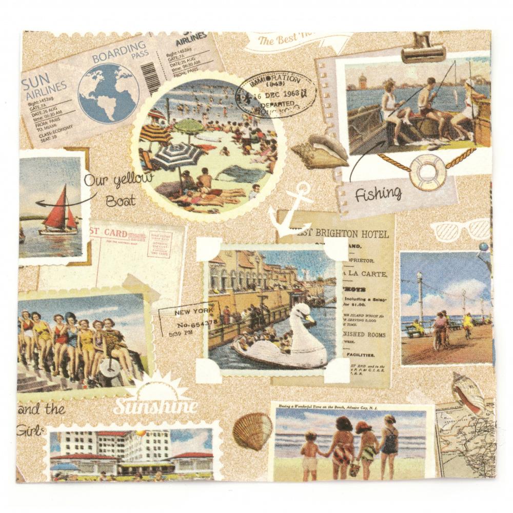 Салфетка за декупаж Ambiente 33x33 см трипластова Vacation Scrapbook -1 брой