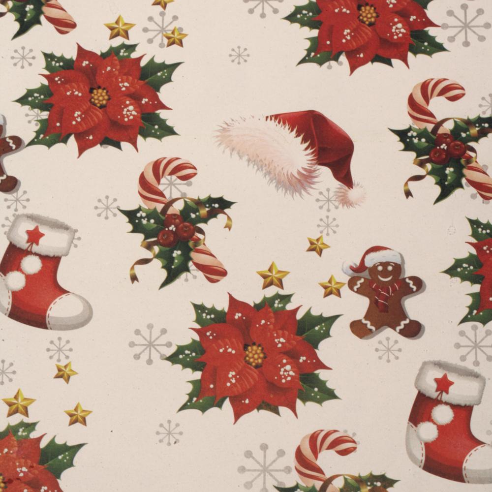 Хартия опаковъчна 510x750 мм Коледна звезда шапки и ботушки цвят бял
