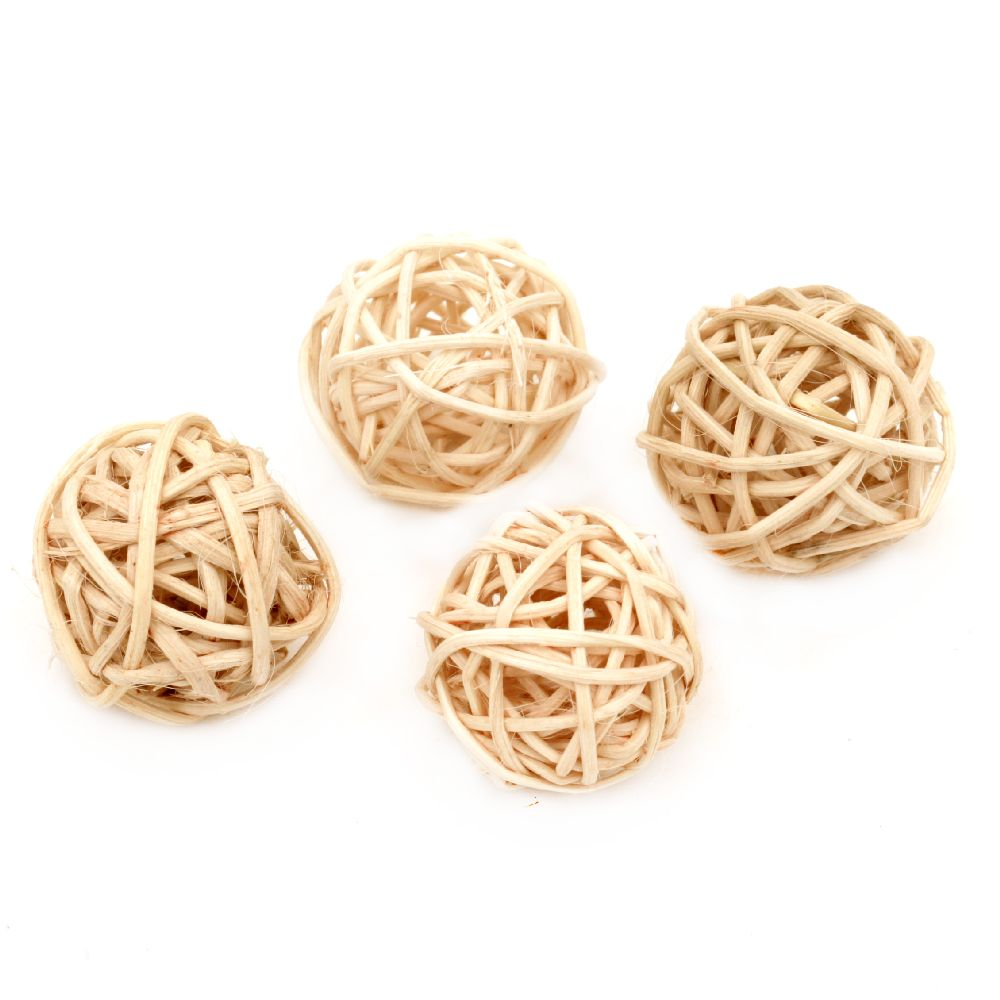 Rattan Ball, Wooden, Decoration, Craft Projects, DIY 30 mm beige light - 4 pieces