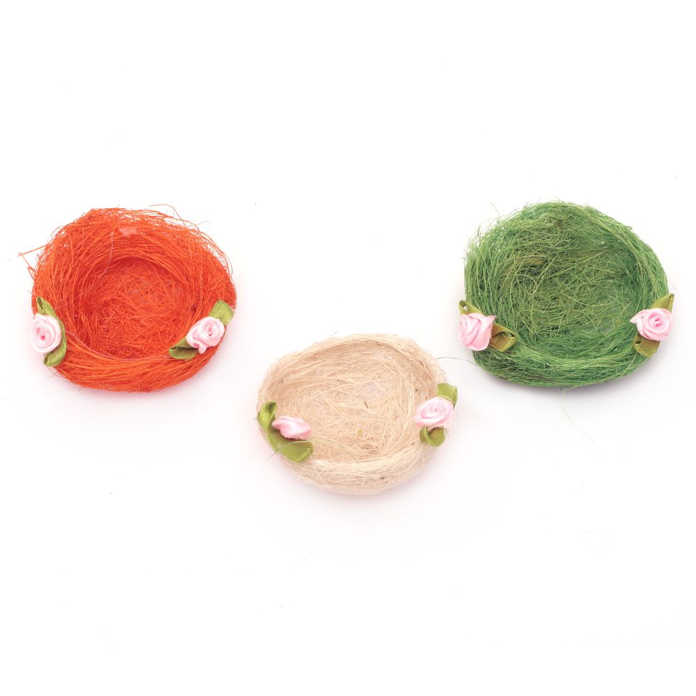 Coconut grass nest with 70 mm decoration - different colors