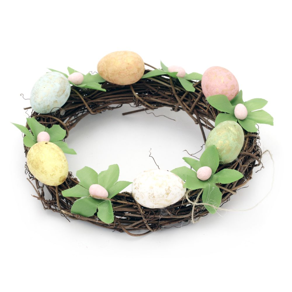 160mm twig wreath with easter suspension decoration