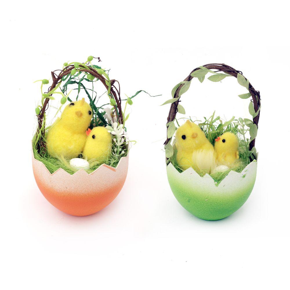 Кошница яйце 80x135 мм с великденска украса -различни цветове