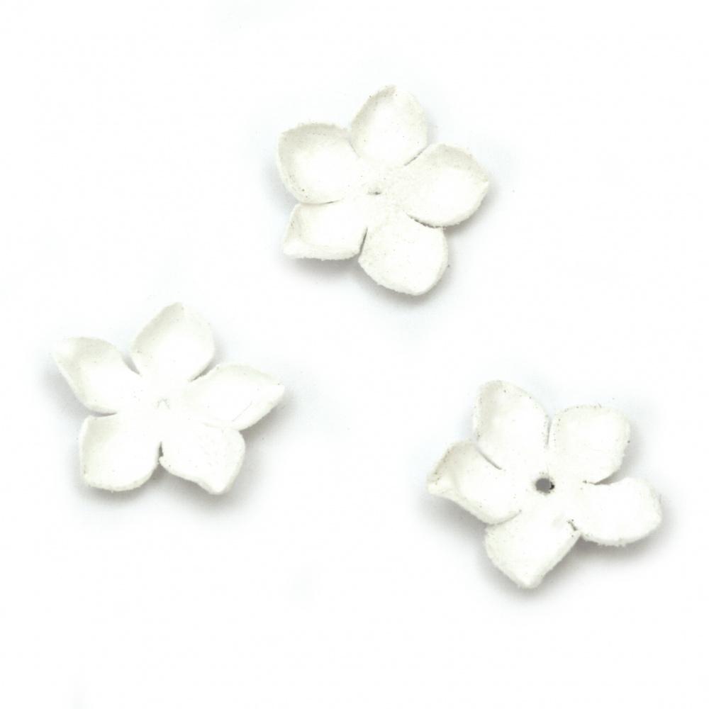 Текстилен елемент за декорация цвете 25 мм цвят бял -10 броя