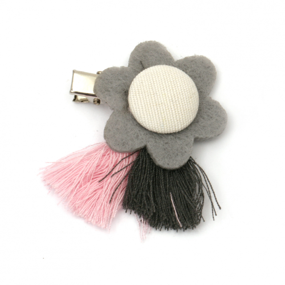 Щипка метал, текстил цвете с пискюли 50x35 мм цвят сив, розов, бял -2 броя