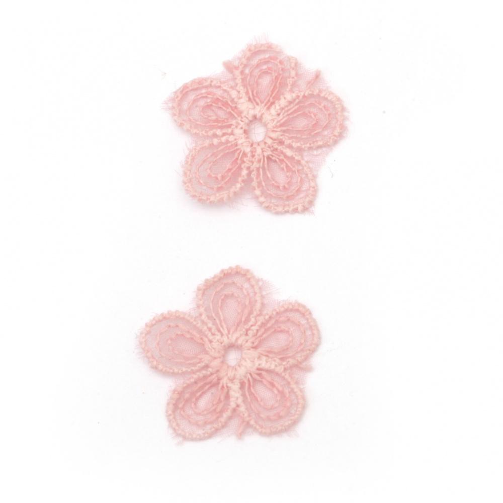 Елемент дантела за декорация цвете 22 мм цвят розов -10 броя