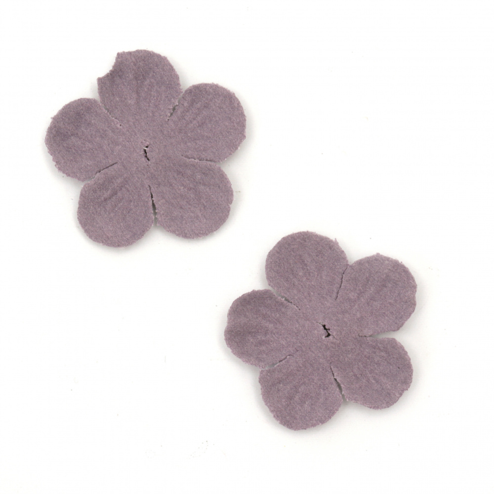 Цветя от велурена хартия 34 мм цвят лилав пастел -10 броя