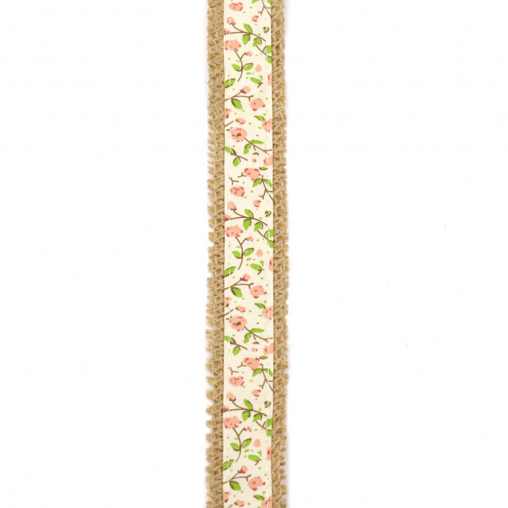 Baza pentru aplicare pânză de sac panglică cu panglică textilă de 2,5x200 cm flori