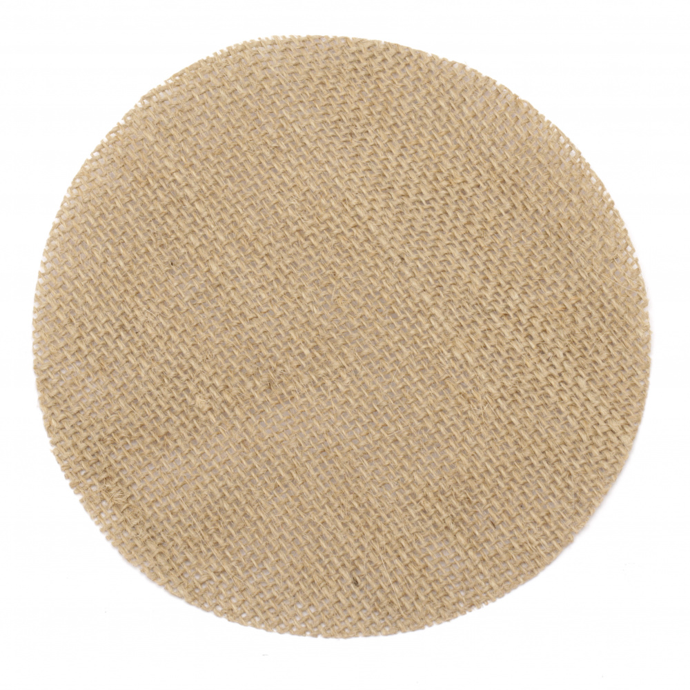 Burlap Base for Application DIY Crafts Decorations, Embroidery, round 150x150 mm