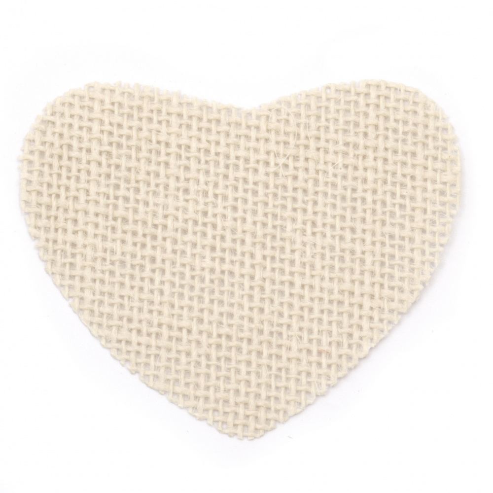 Burlap element for decorations, DIY Craft projects 85x70 mm heart light