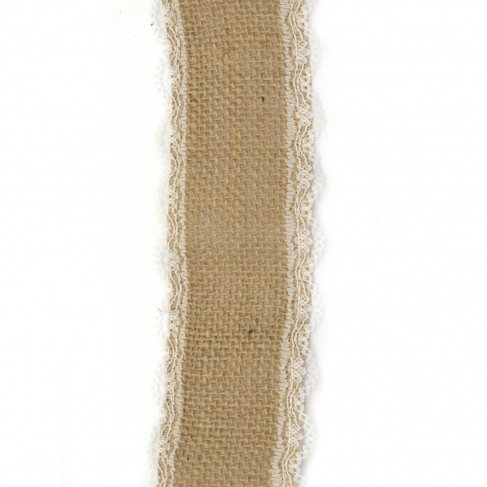 Burlap Ribbon Base for Application with lace DIY Crafts Decorations, Embroidery 5x200 cm