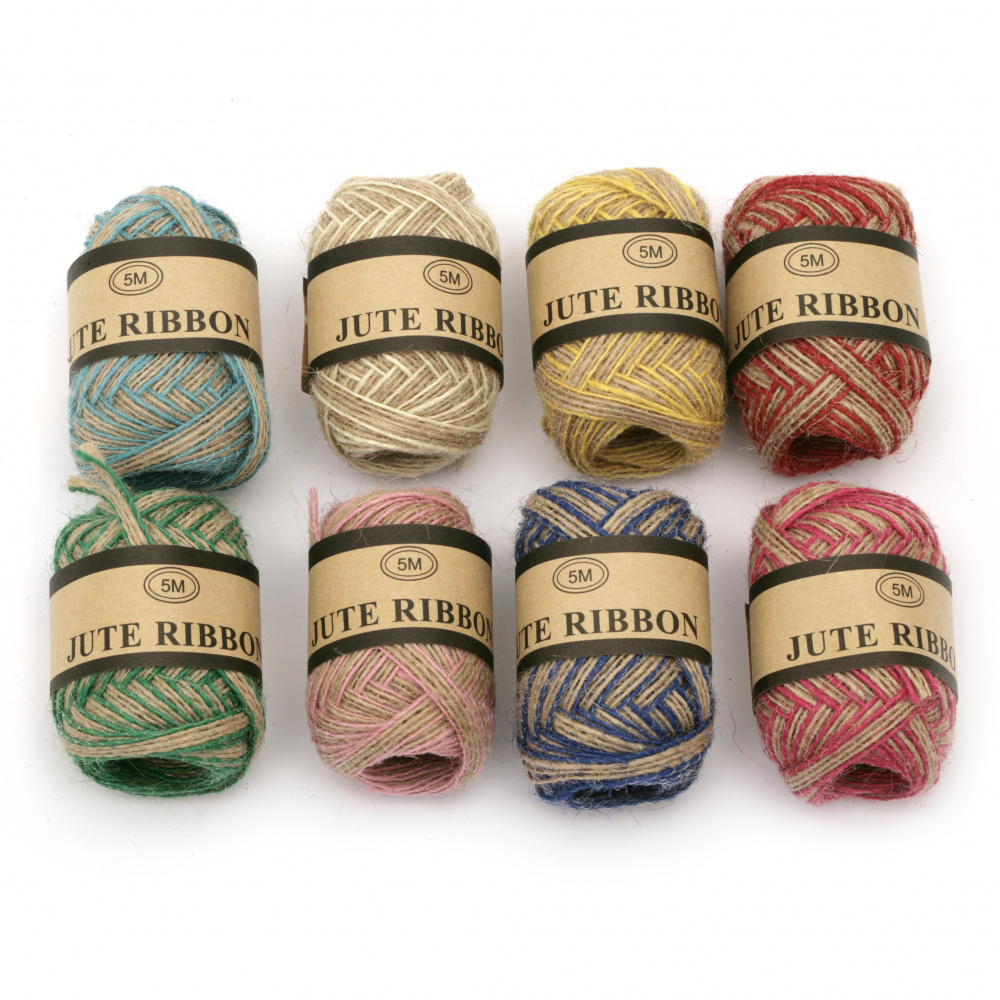 Burlap Braid string for DIY Craft Decorations, 5 mm  ASSORTED colors - 5 meters