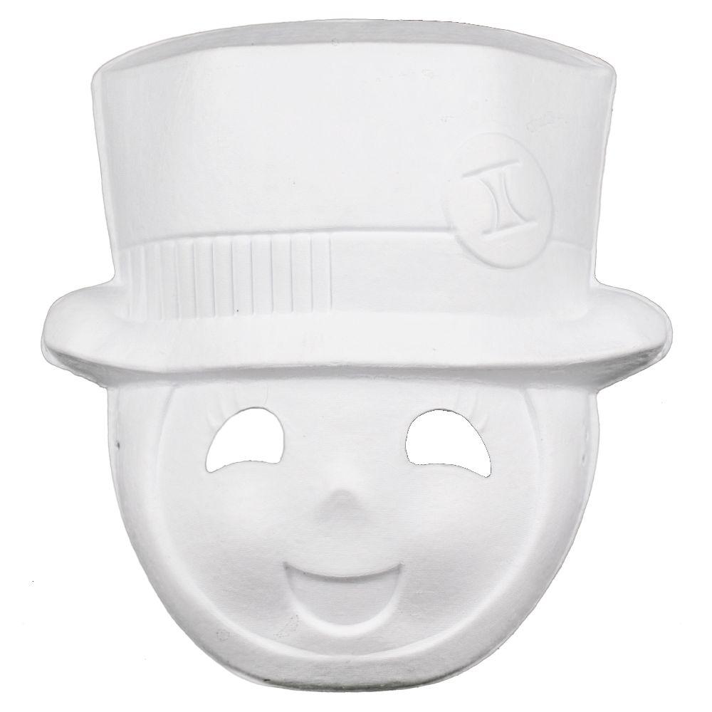 Бяла маска за декорация от пресован картон -25.5x23.5 см