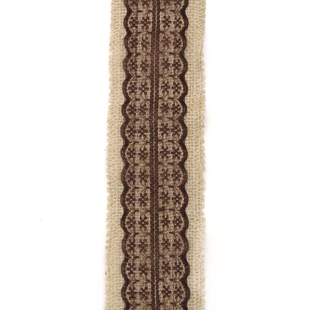 Baza pentru aplicare pânză de sac 6x200 cm cu dantelă maro