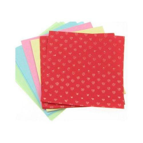 Кубче цветни листи с щампа 6x6 см 5 цвята за декорация и оригами ~50 броя