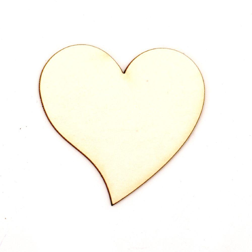 Καρδιά χαρτόνι Chipboard 50x50x1 mm -2 τεμάχια