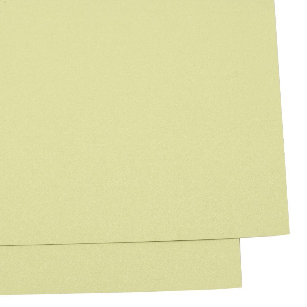 Картон перлен двустранен 260 гр/м2 А4 (297x209 мм) цвят жълто-зелен -1 брой