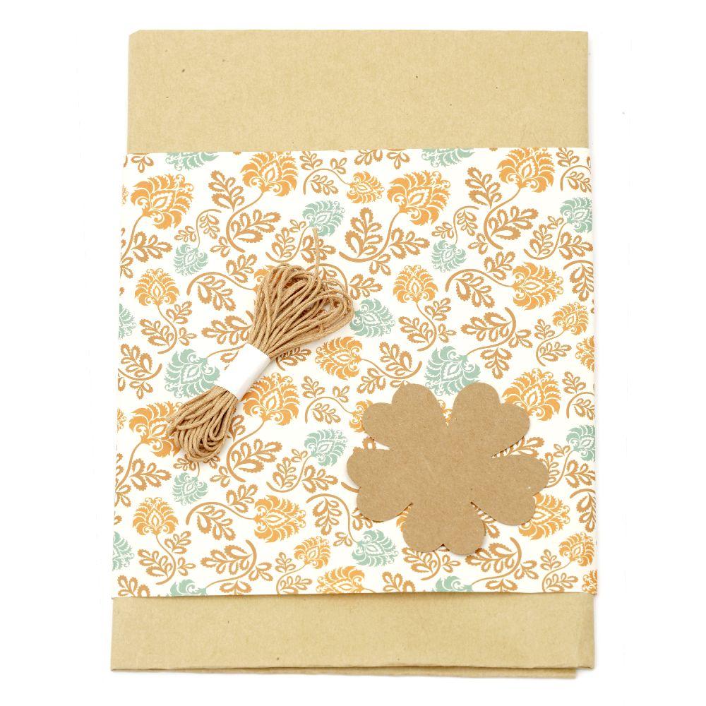 Комплект за опаковане на подарък -крафт хартия 50x70 см, дизайнерска хартия бяла с цветя 50x18 см, шнур памук 3 метра, таг детелина -кафяв
