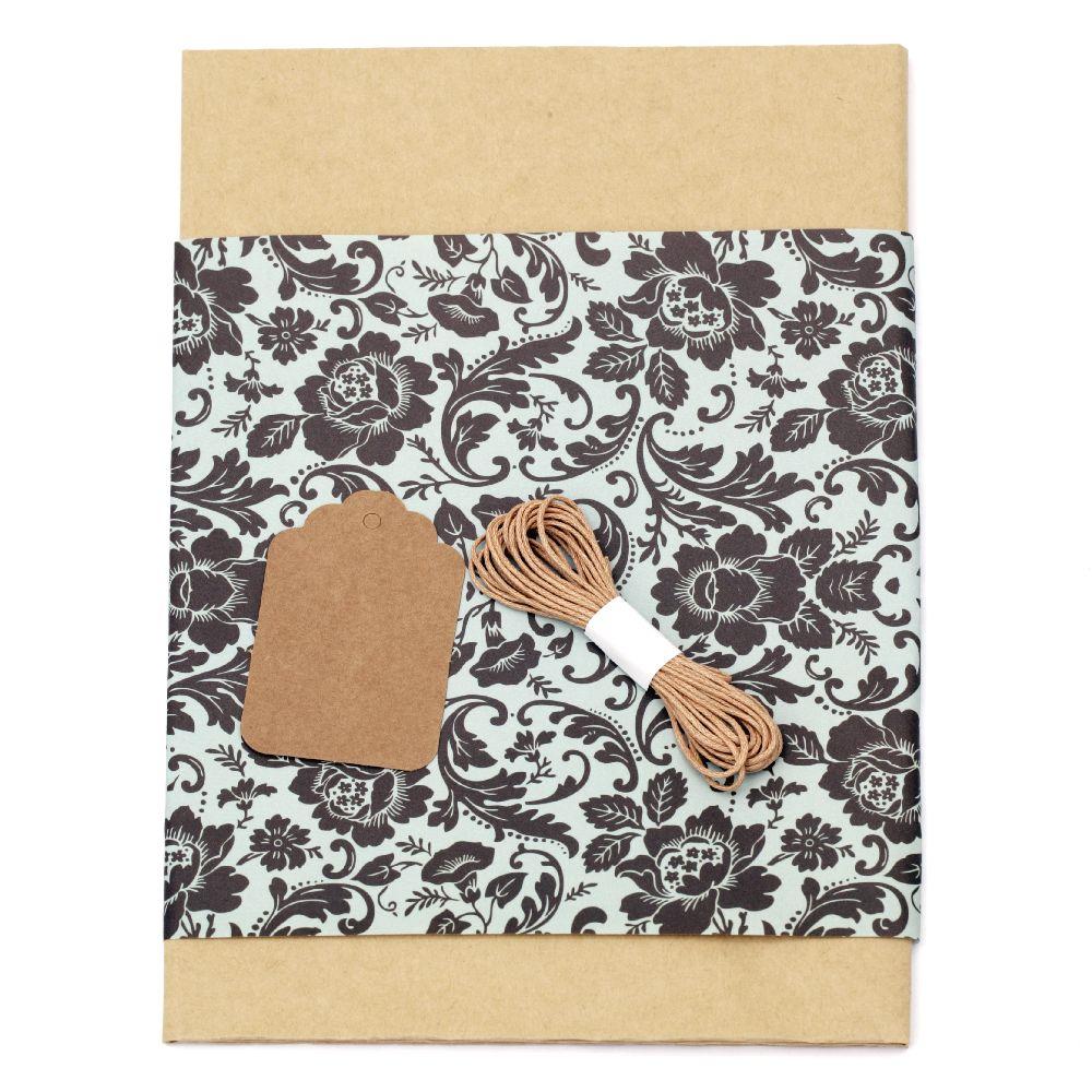 Комплект за опаковане на подарък -крафт хартия 50x70 см, дизайнерска хартия с цветя черни 50x18 см, шнур памук 3 метра, таг правоъгълен 1 брой