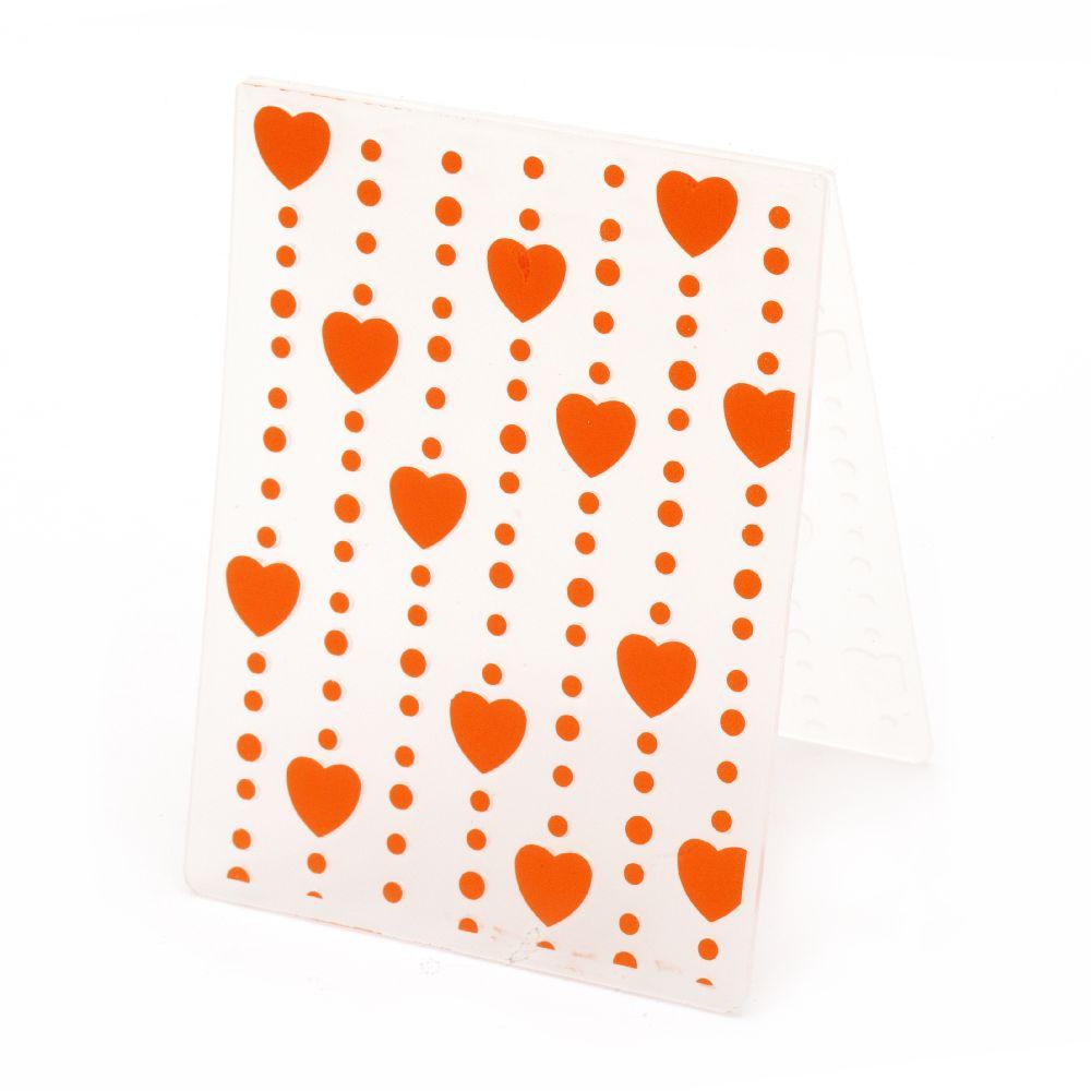 Μήτρα embossing folder 7,5x10 cm - καρδιές και βούλες