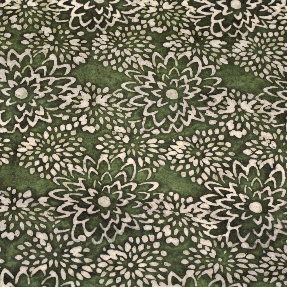 Непалска хартия 60 гр ръчна 48x75 см Batik Mums - маслинено зеленa